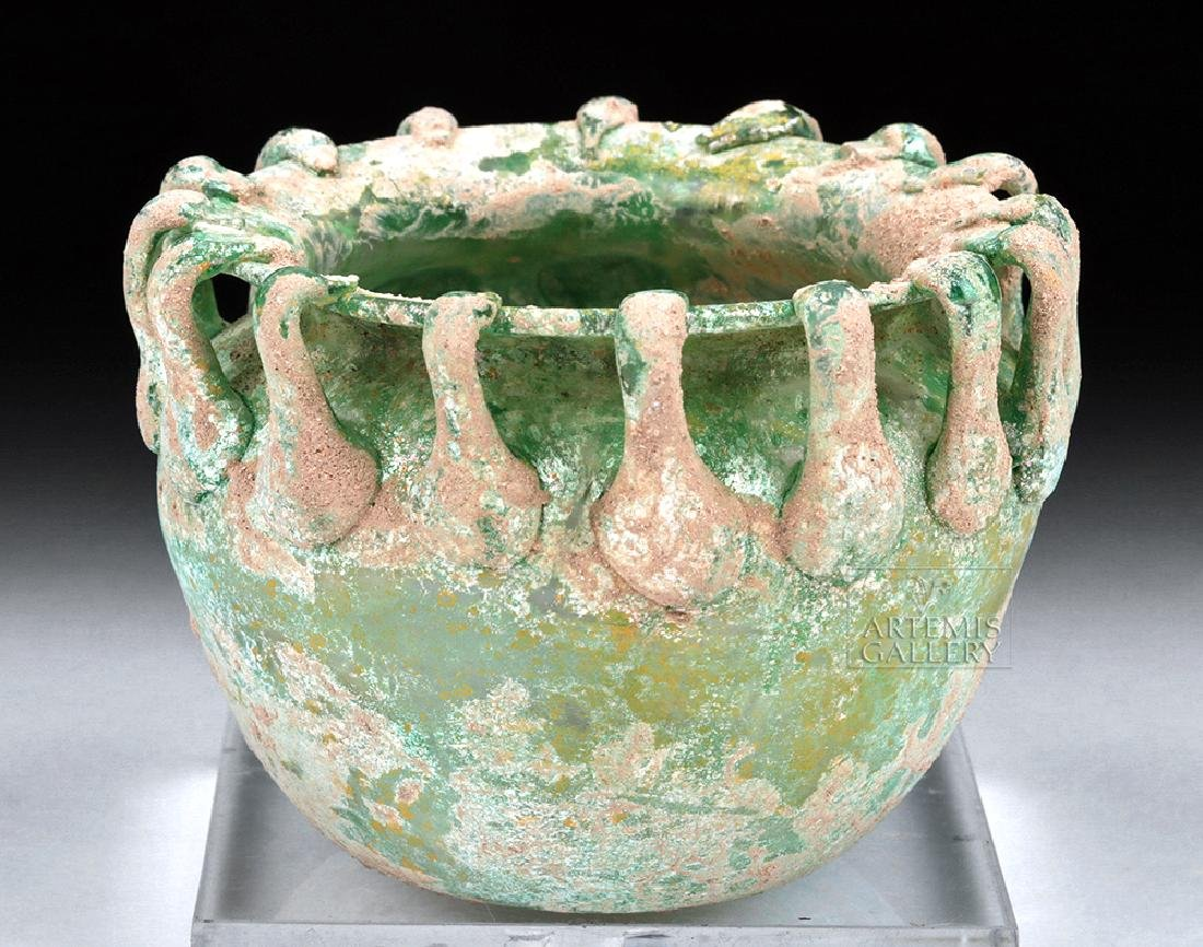 Roman Green Glass Bowl w/ Applied Rigaree