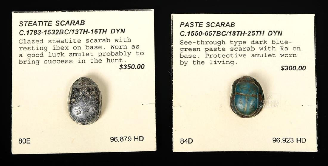 Pair of Egyptian Scarabs - Steatite & Paste
