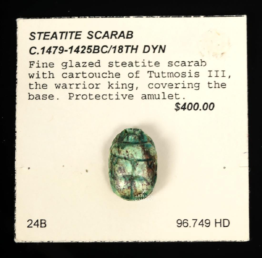 Egyptian Glazed Steatite Scarab w/ Tutmosis Cartouche