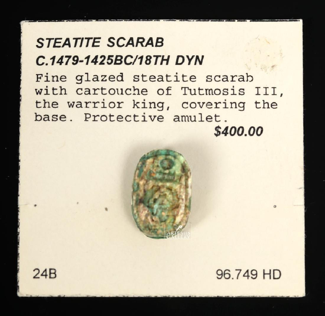 Egyptian Glazed Steatite Scarab w/ Tutmosis Cartouche - 2