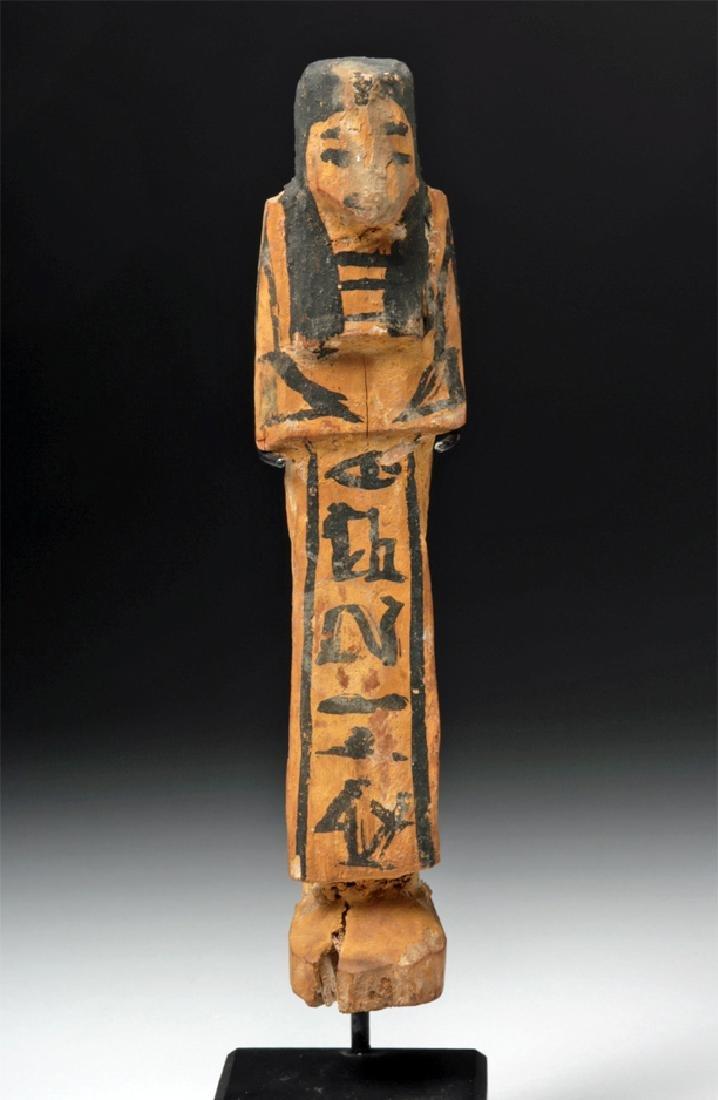 Rare Egyptian New Kingdom Wood Ushabti w/ Translation