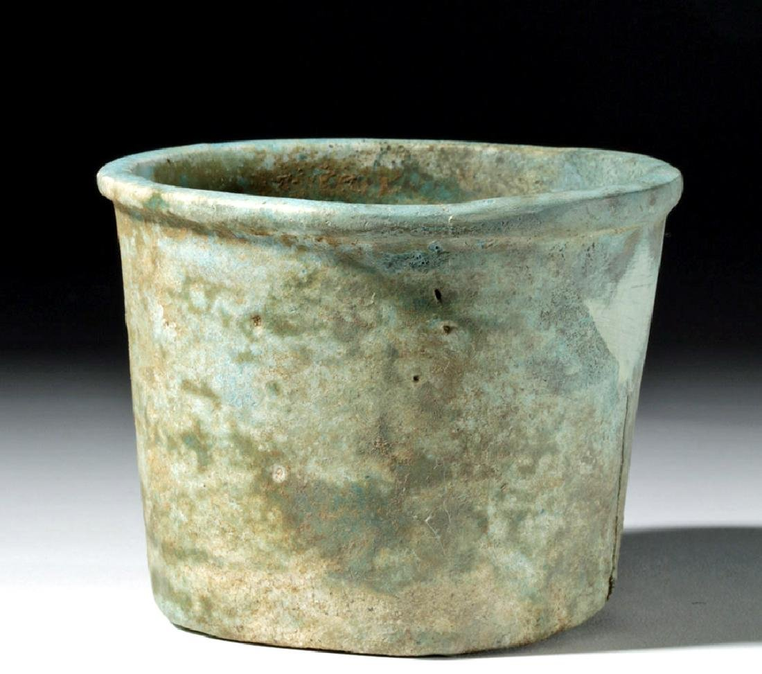 Egyptian Late Dynastic Blue Faience Cup