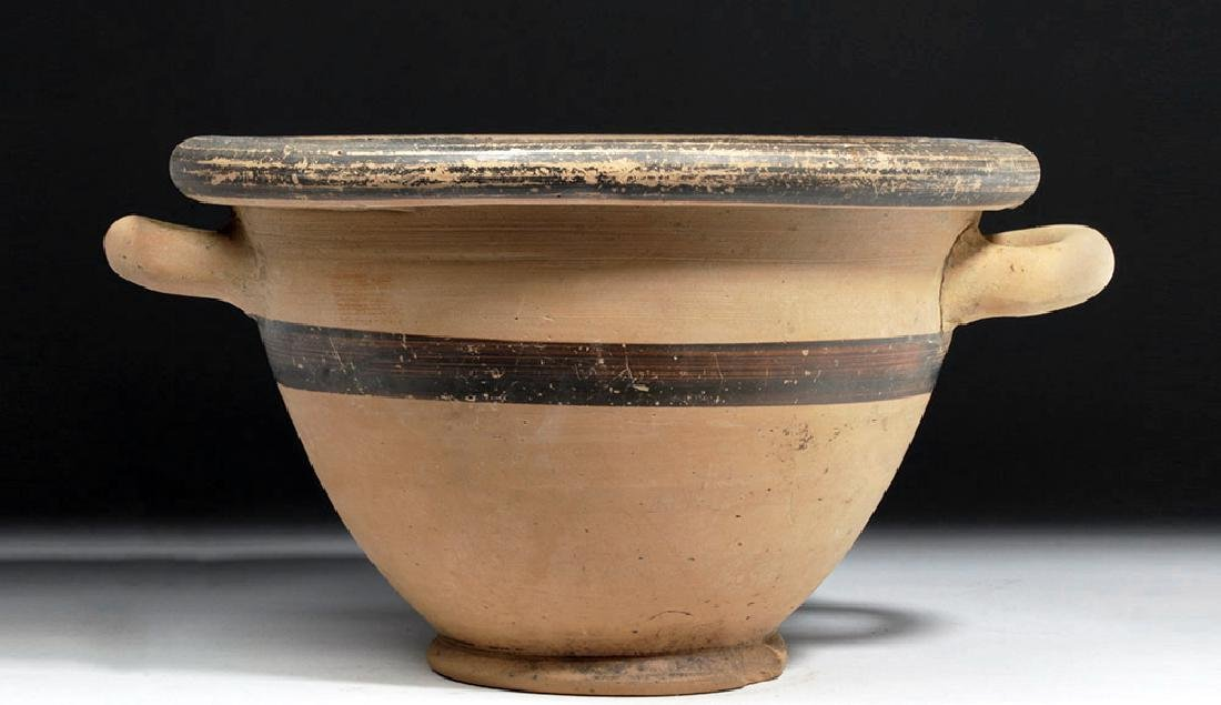 Greek Ionian Twin-Handled Pottery Bowl