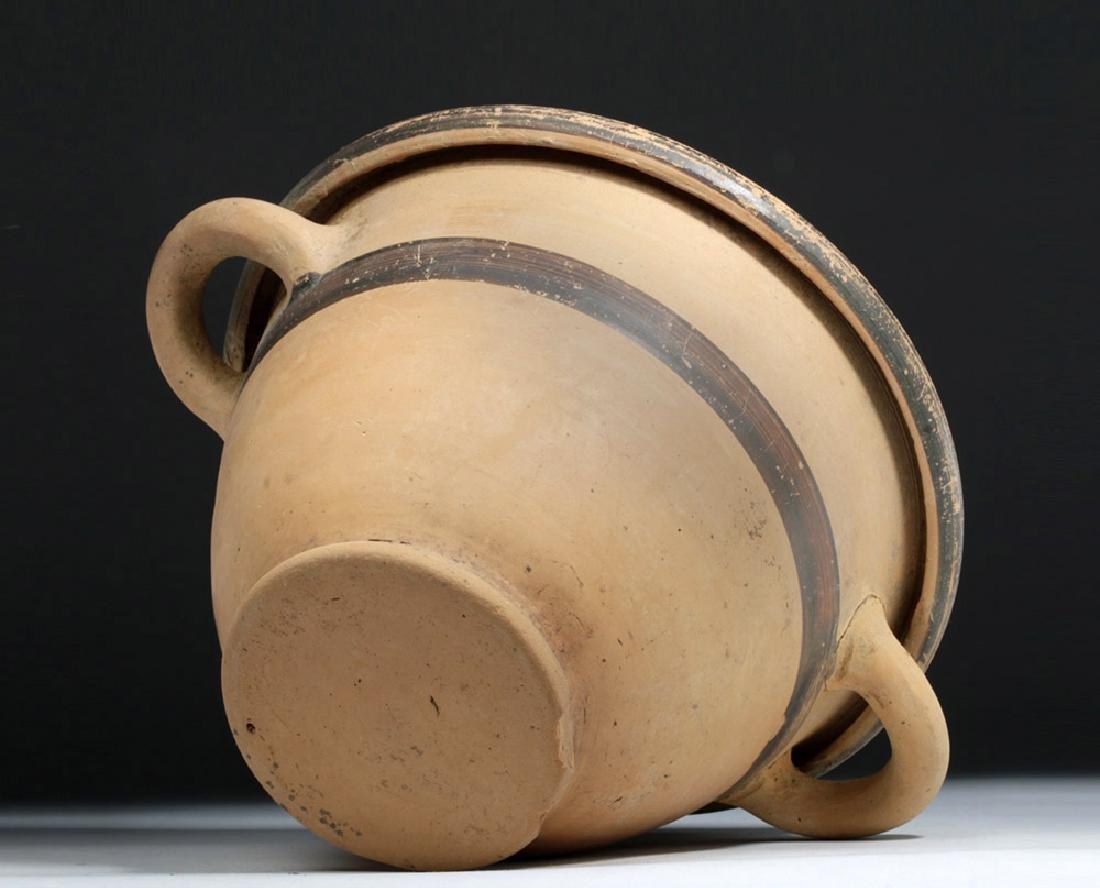 Greek Ionian Twin-Handled Pottery Bowl - 7