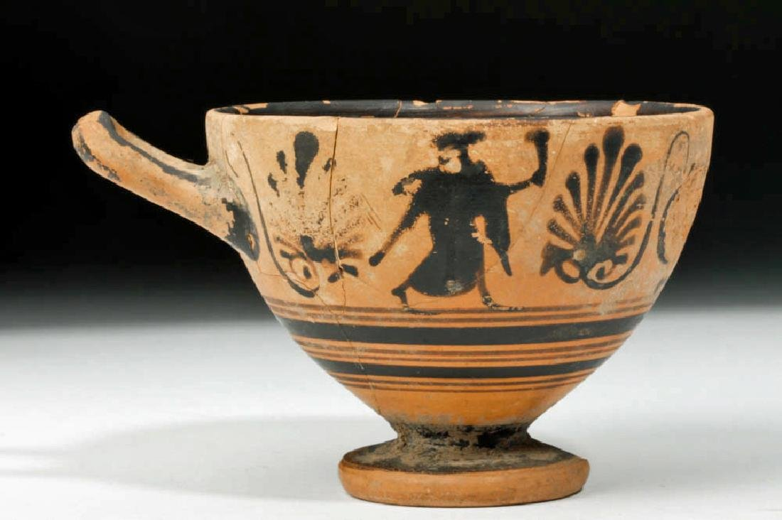 Greek Attic Black-Figure Pottery Skyphos