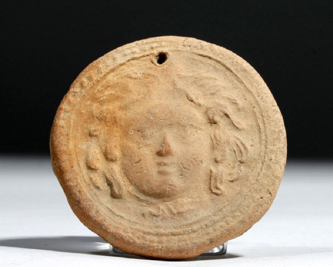 Greek Terracotta Votive Plaque w/ Athena