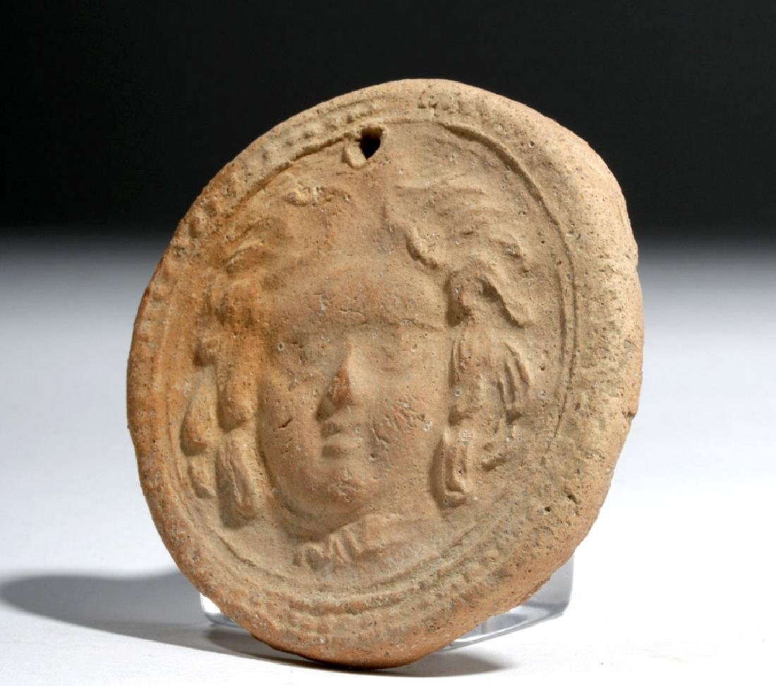 Greek Terracotta Votive Plaque w/ Athena - 2