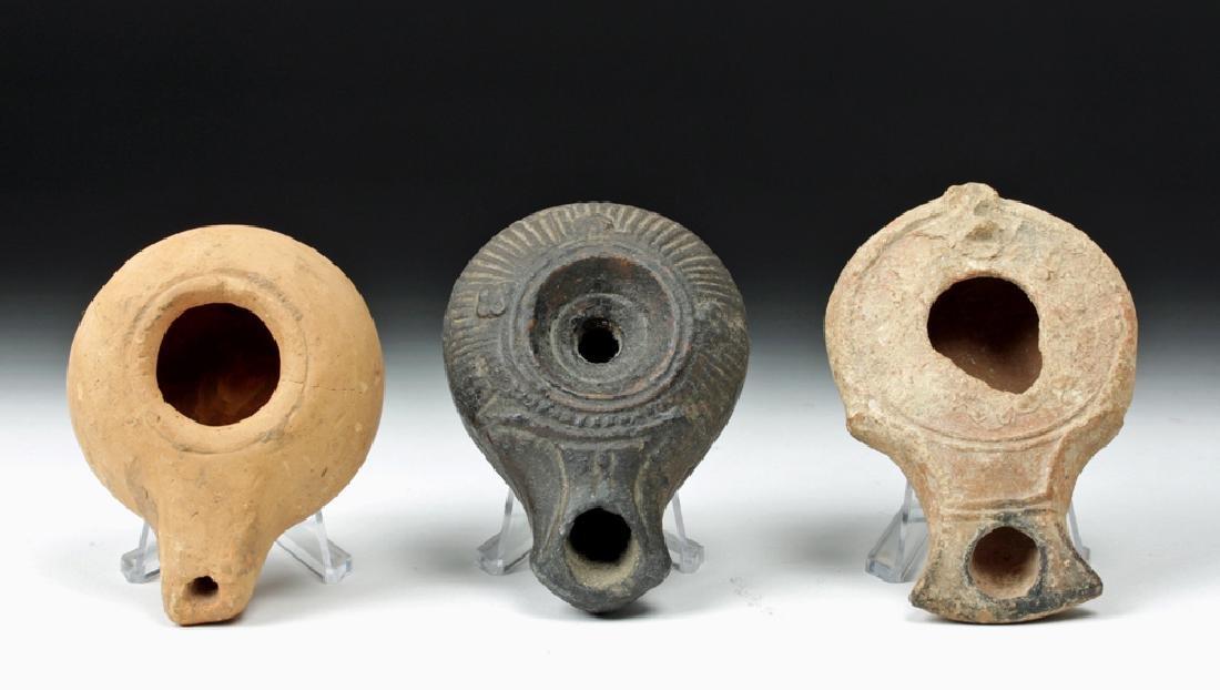 Trio of Graeco-Roman Pottery Oil Lamps