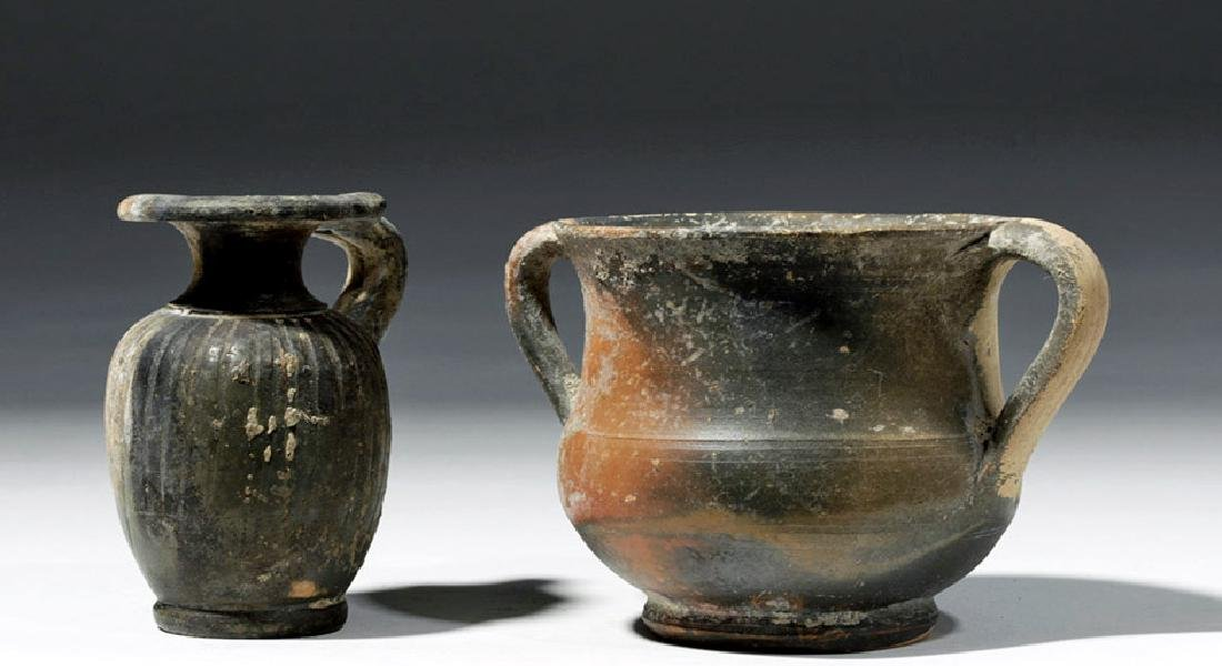 Pair of Greek South Italic Blackware Pottery Vessels
