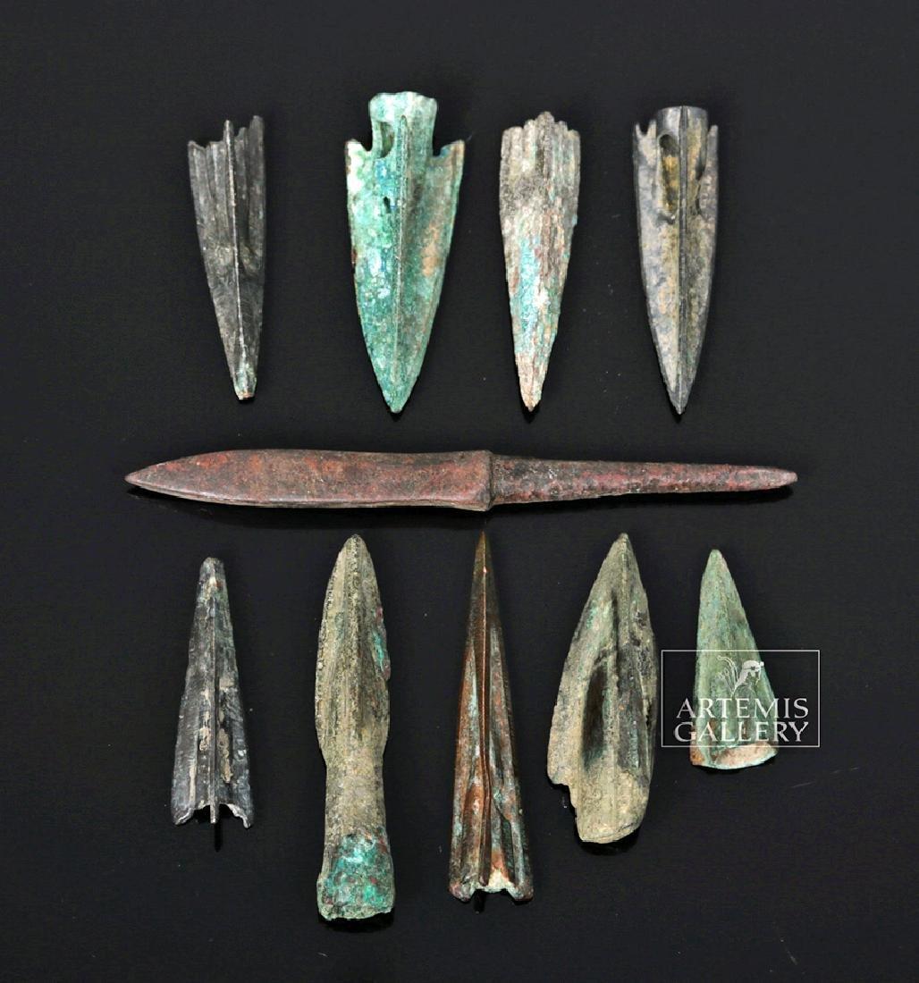 Ten Roman Bronze & Iron Arrowheads
