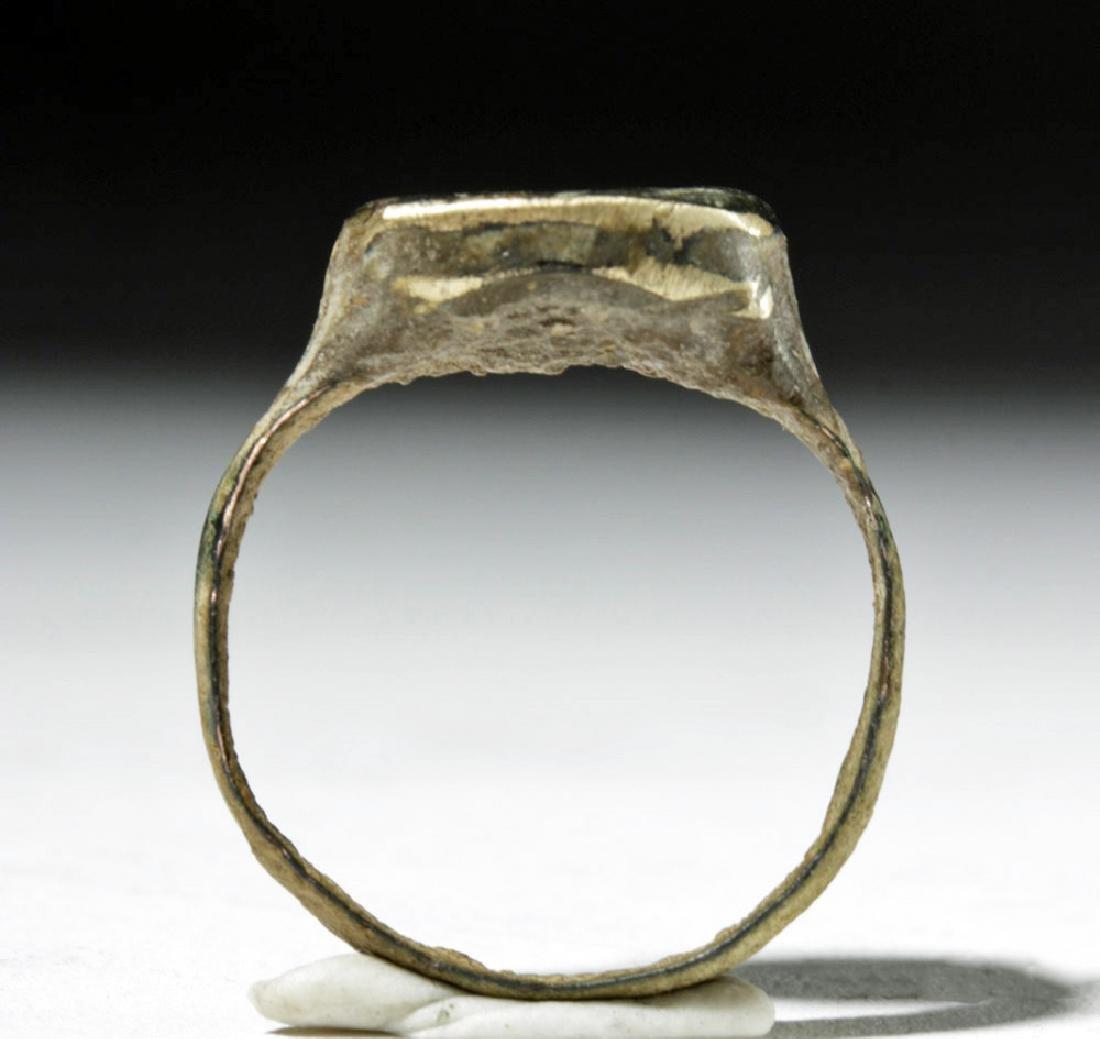 Roman Gilded Bronze Silver Ring - Horse - 5