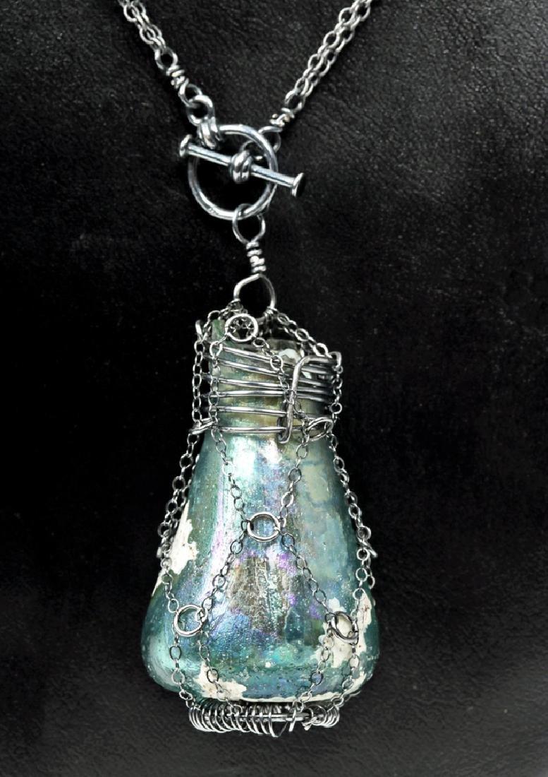 Roman Glass Pendant w/ Chain-Cage Necklace