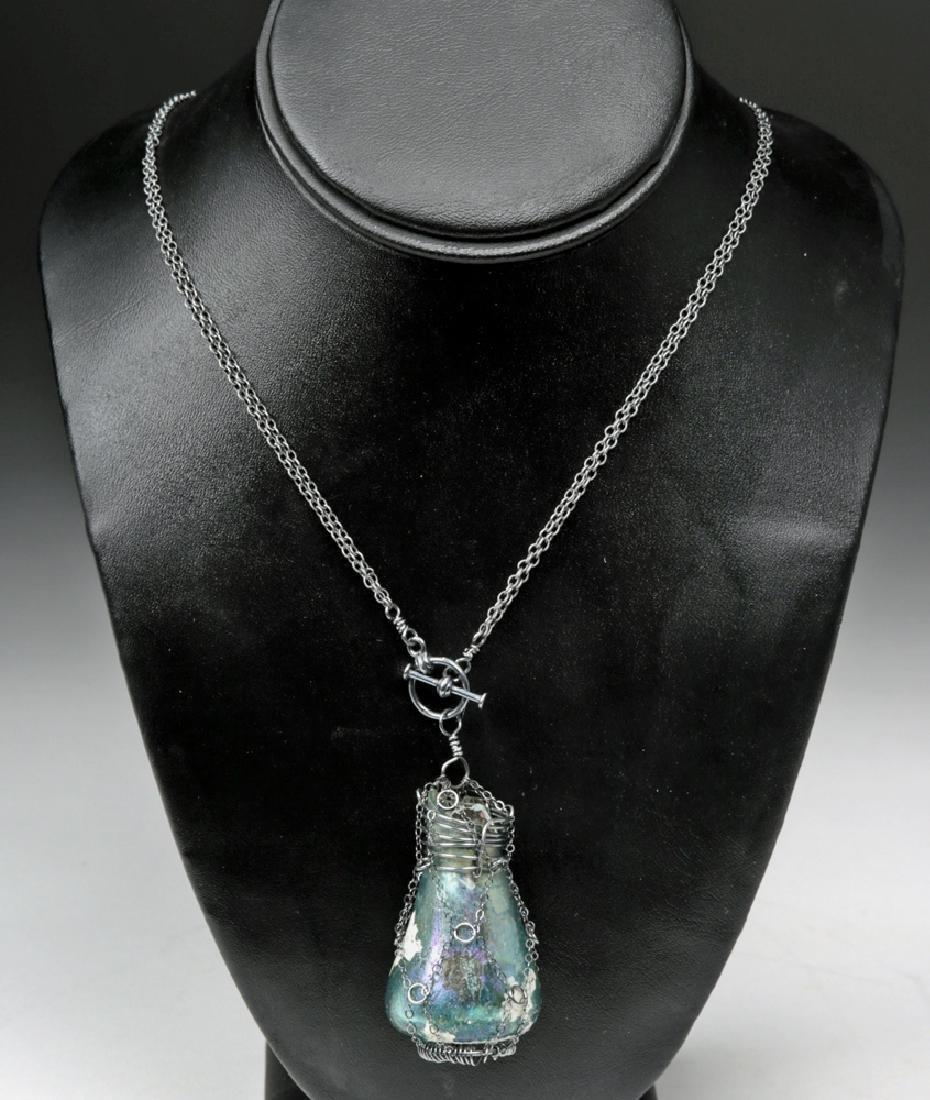 Roman Glass Pendant w/ Chain-Cage Necklace - 2