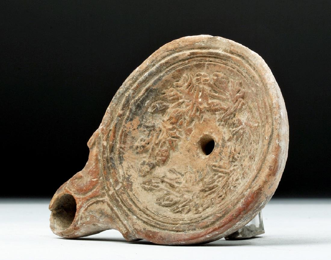 Roman Pottery Oil Lamp w/ Laurel Leaves