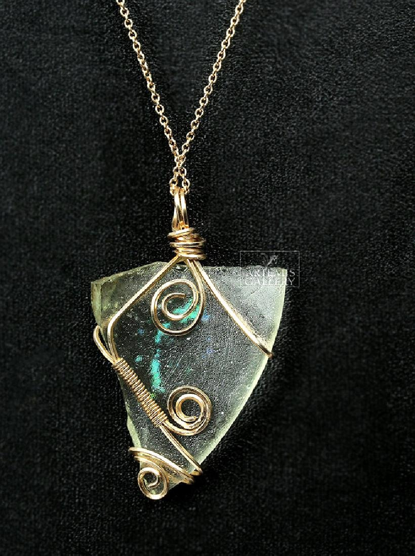 Roman Glass Wire-Wrapped Pendant Necklace