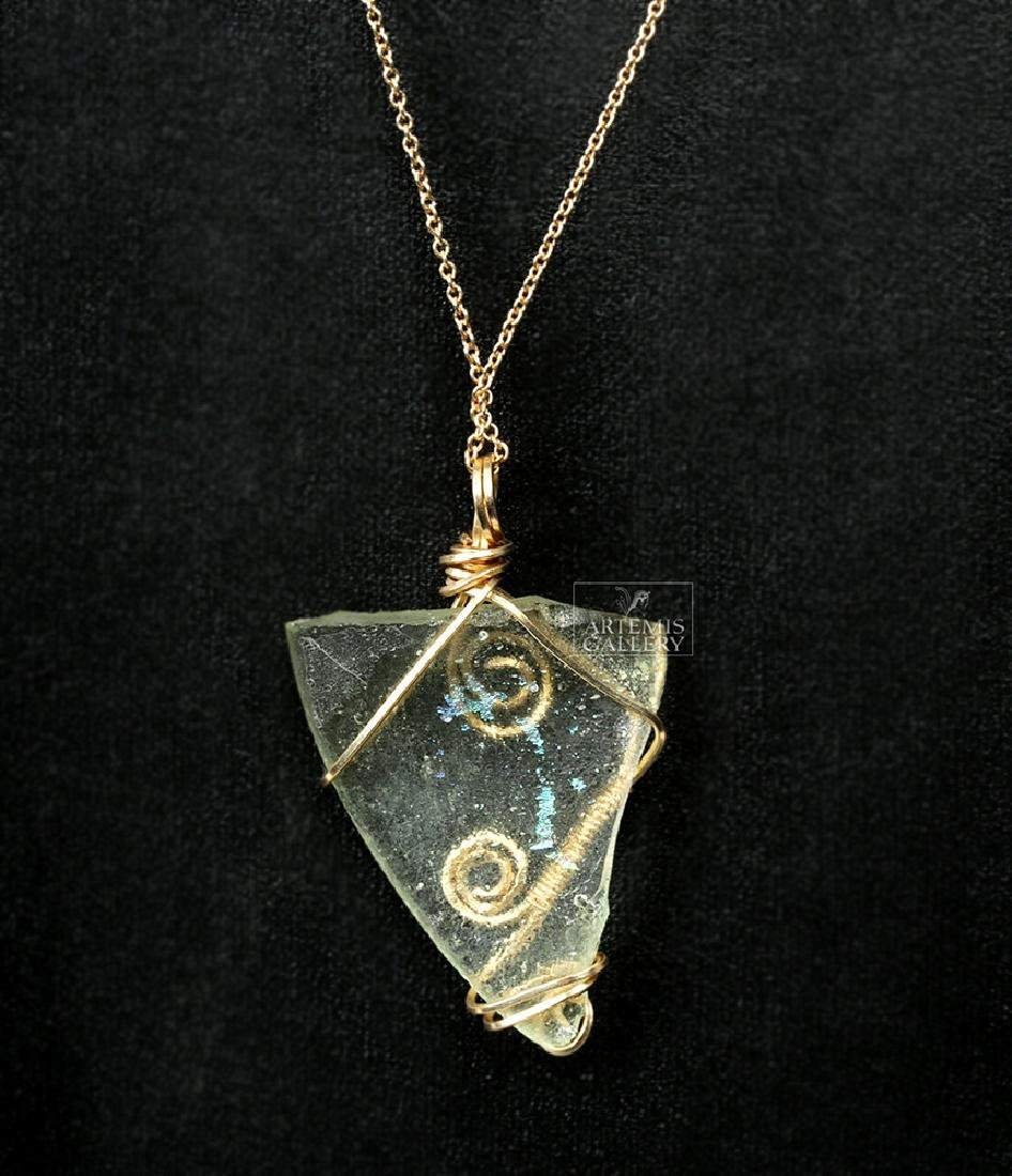 Roman Glass Wire-Wrapped Pendant Necklace - 3