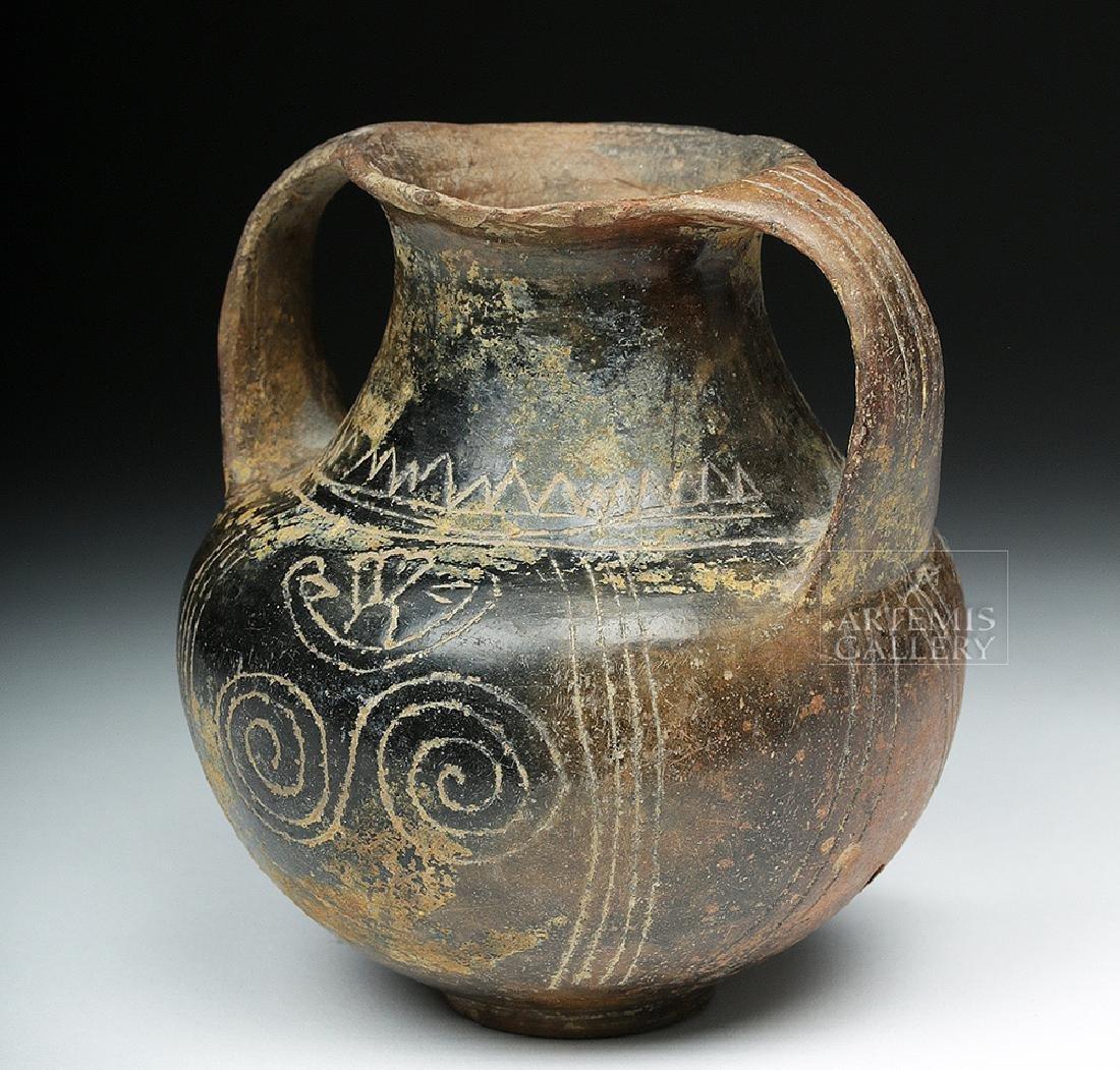 Villanovan Terracotta Amphora w/ Incised Lines - 2
