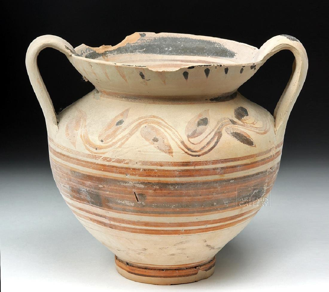 Greek Daunian Bichrome Twin-Handled Jar