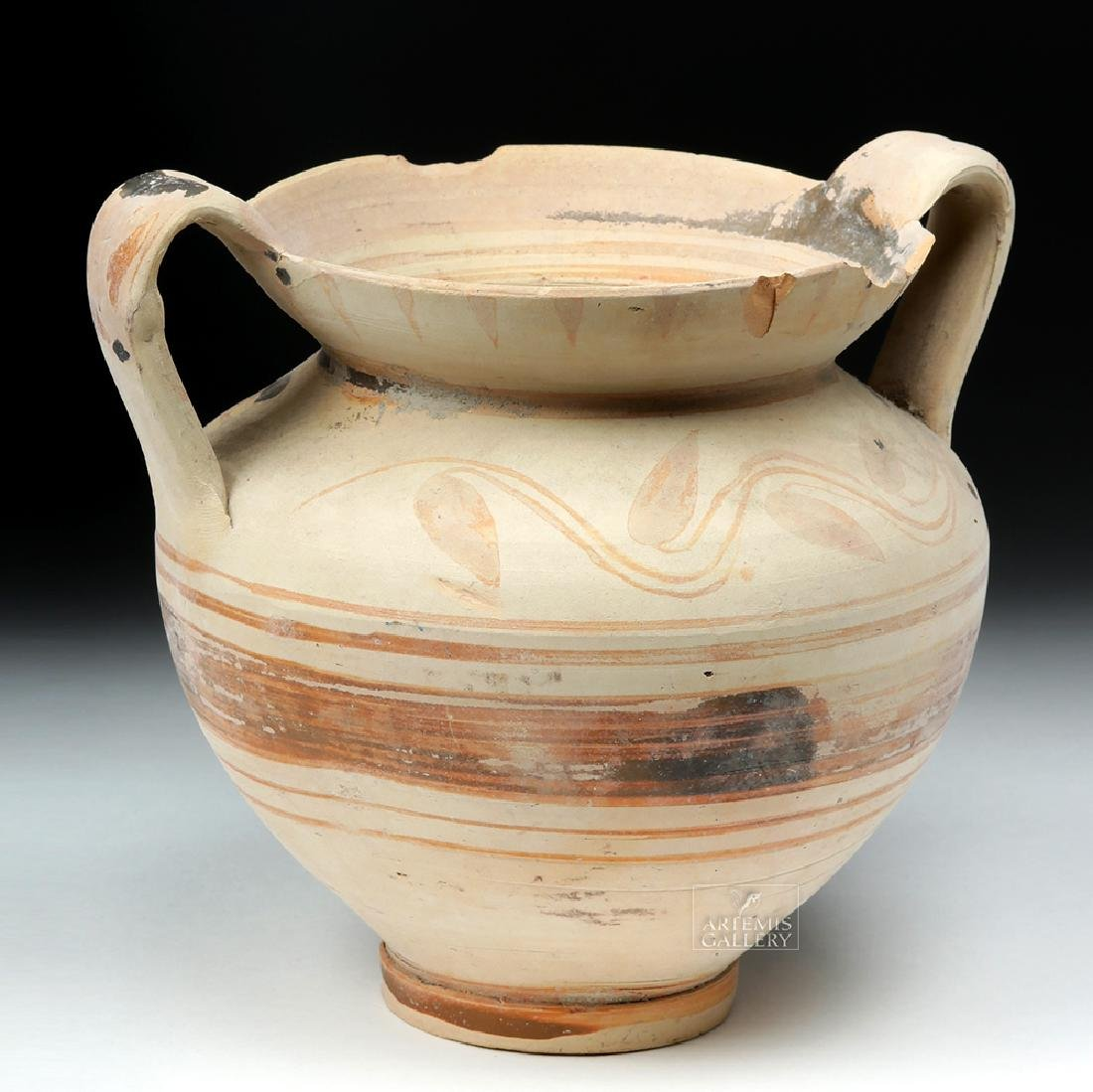 Greek Daunian Bichrome Twin-Handled Jar - 3