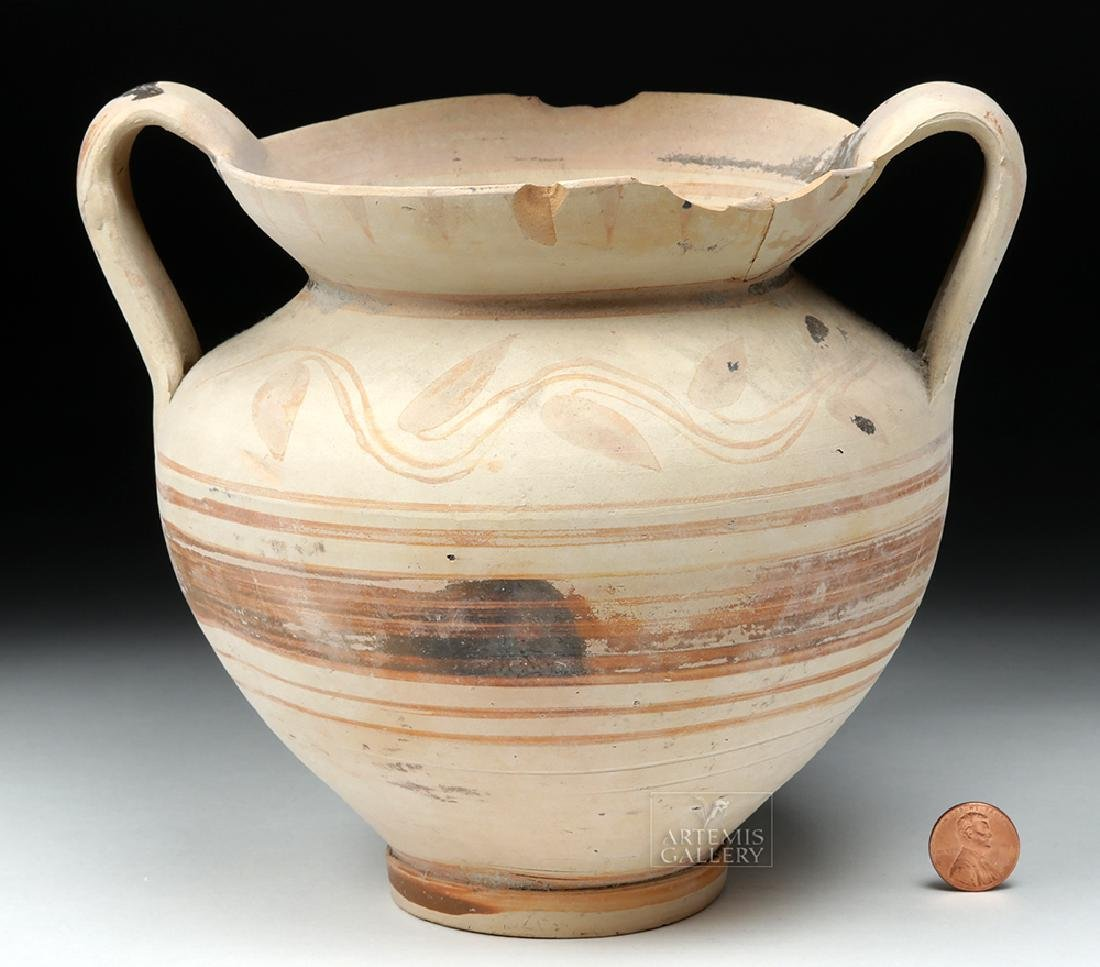 Greek Daunian Bichrome Twin-Handled Jar - 8