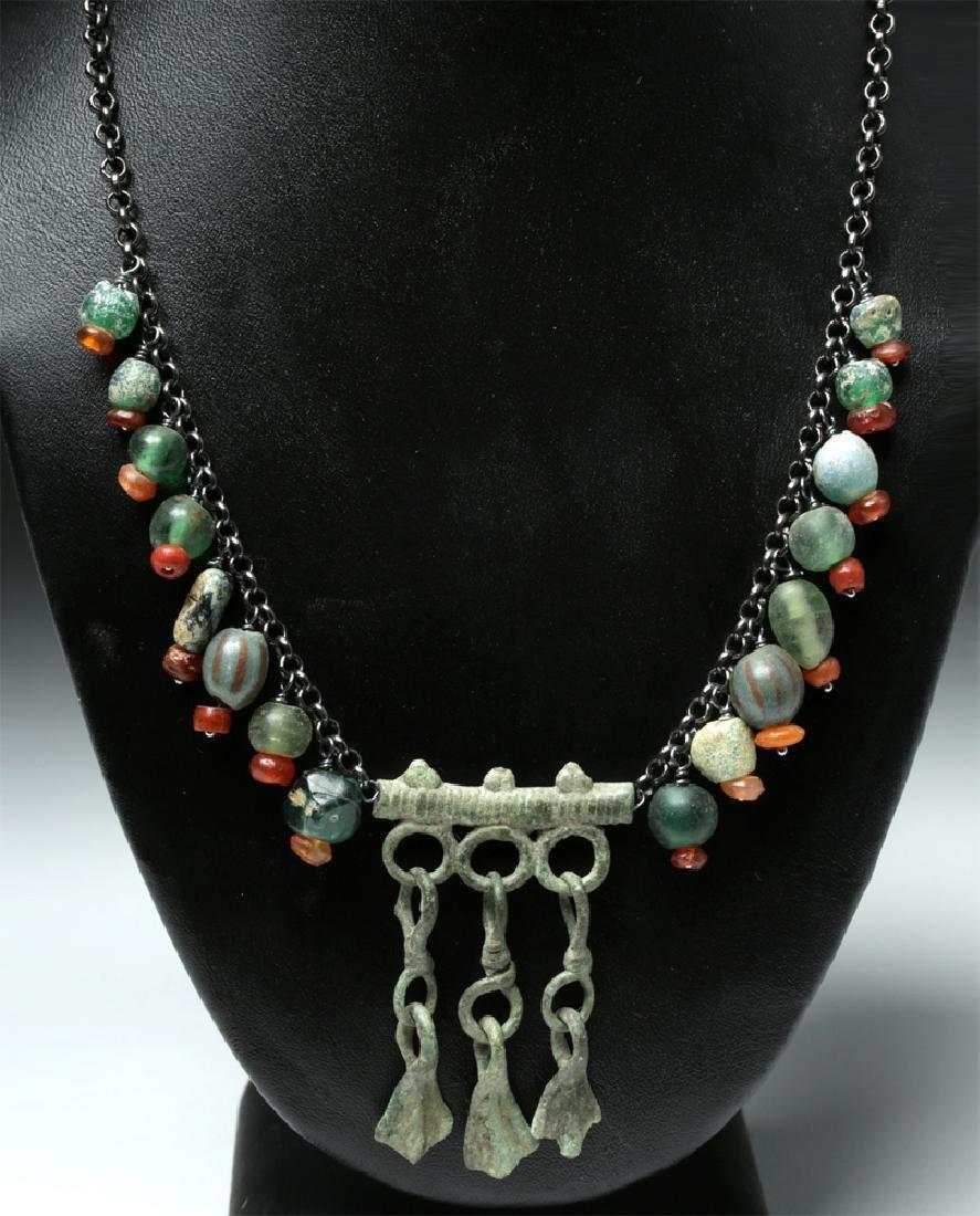 Viking Rus Glass Bead Necklace w/ Bronze Bird Feet