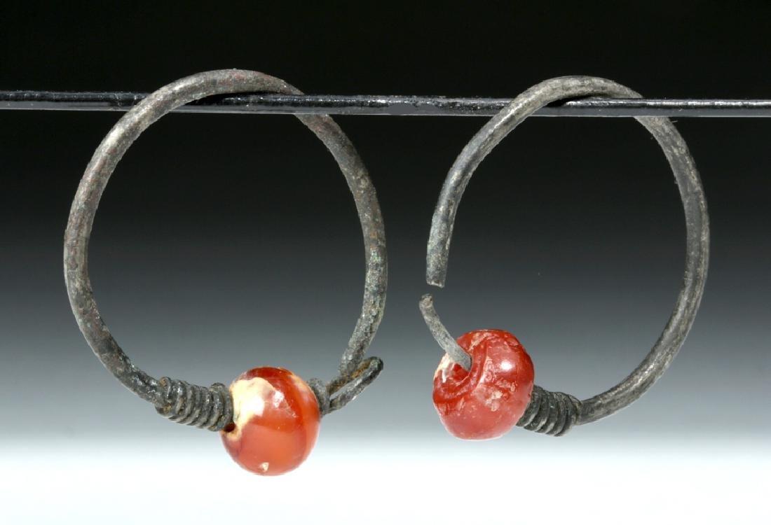Viking Silver / Carnelian Temple Rings (pr)
