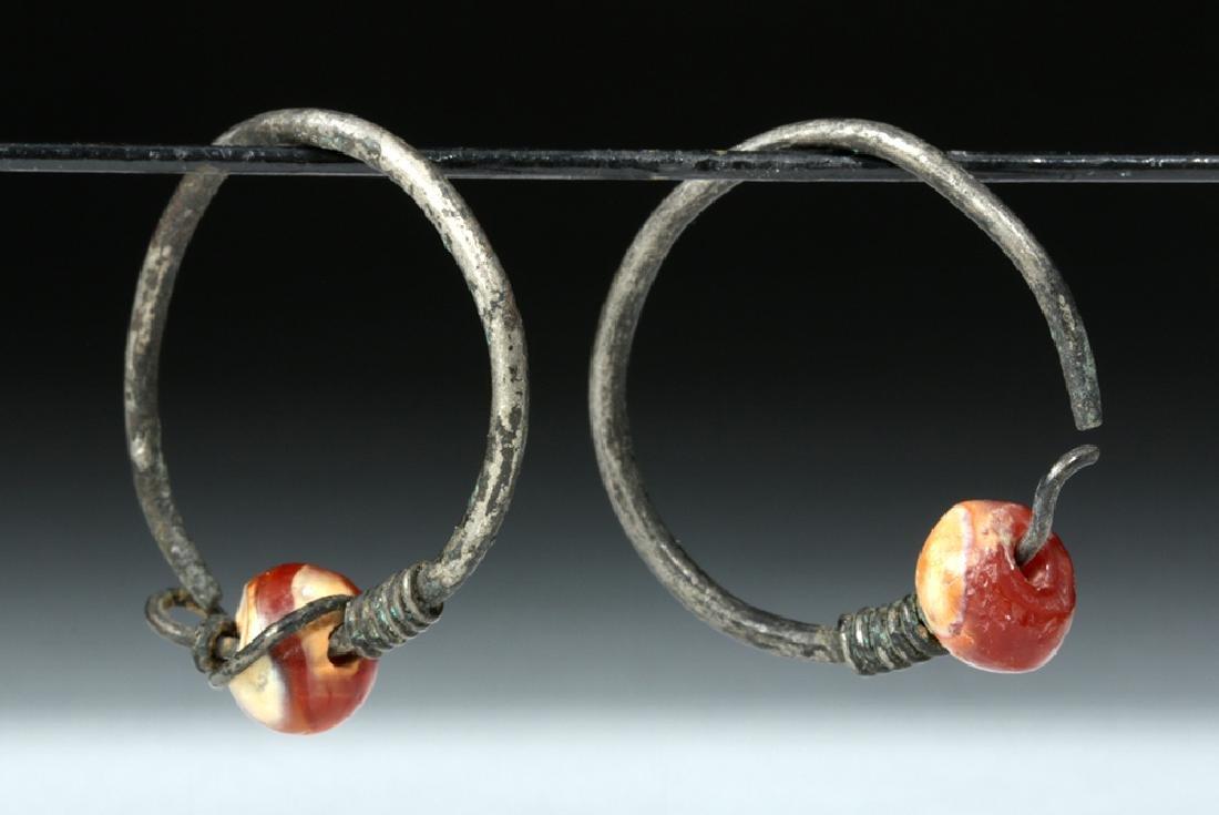 Viking Silver / Carnelian Temple Rings (pr) - 2