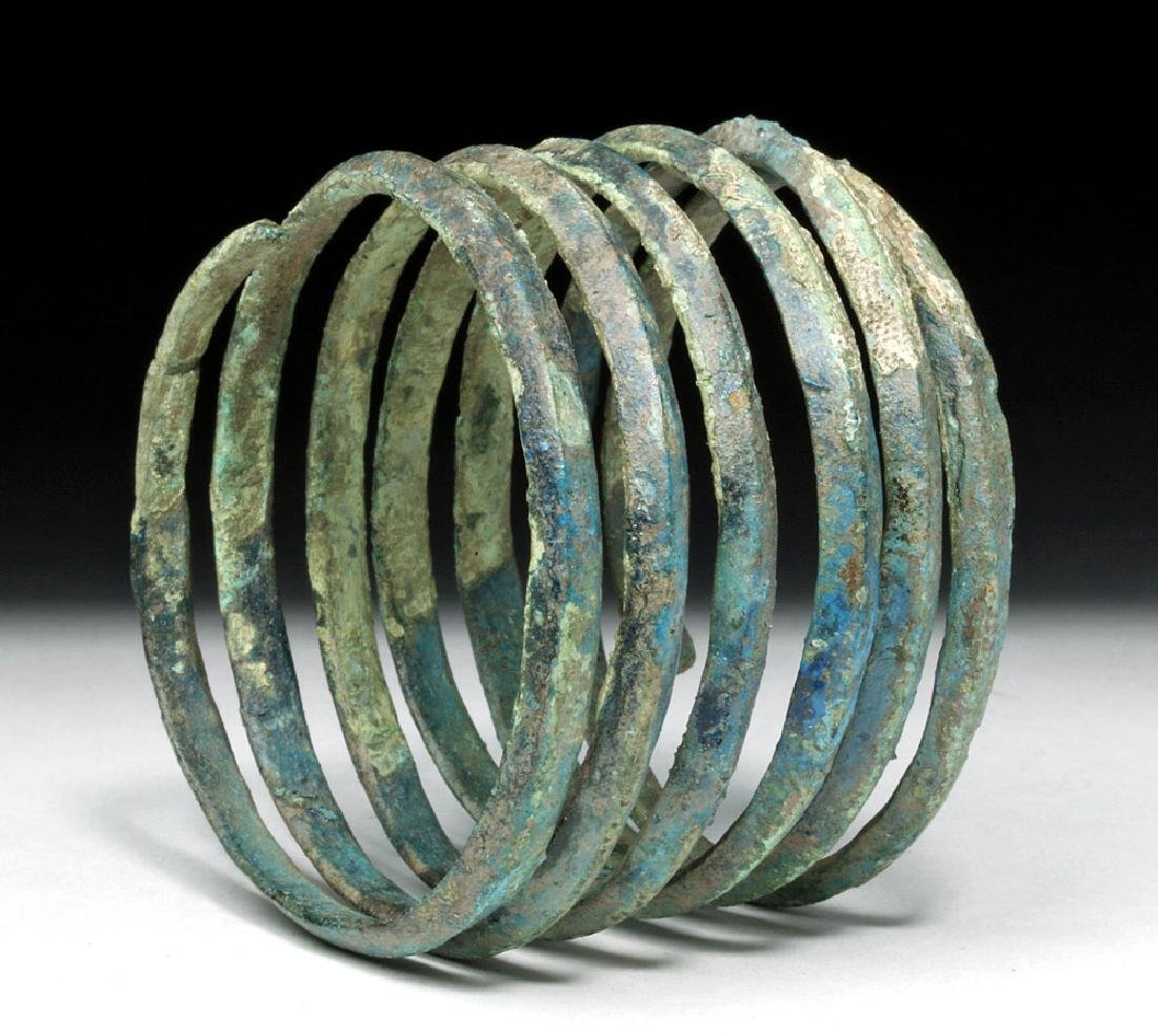 Central Europe Bronze Spiral Bracelet - Blue Patina