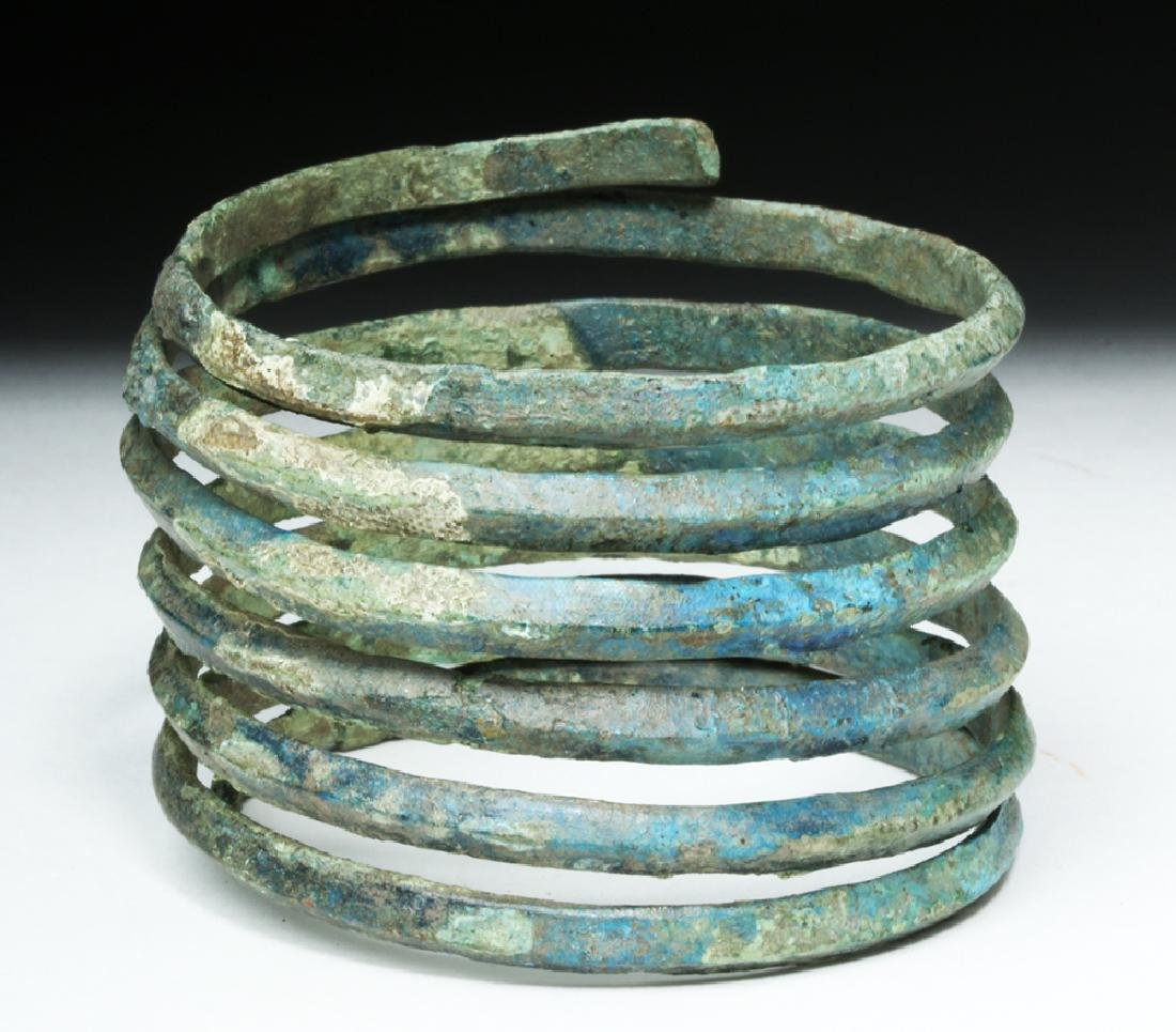 Central Europe Bronze Spiral Bracelet - Blue Patina - 2