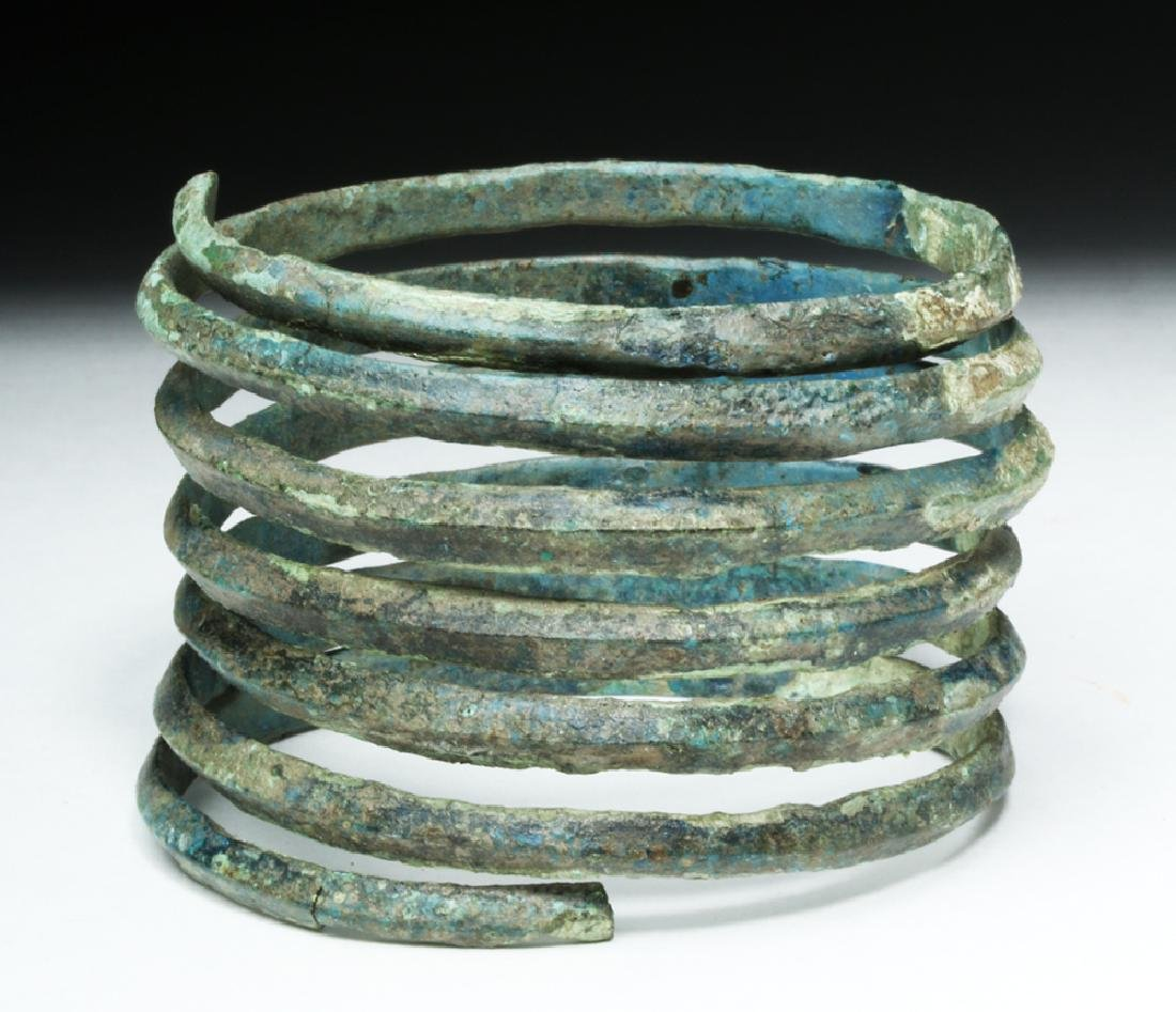 Central Europe Bronze Spiral Bracelet - Blue Patina - 3