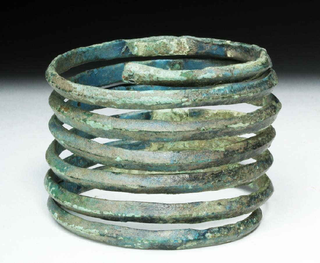 Central Europe Bronze Spiral Bracelet - Blue Patina - 4