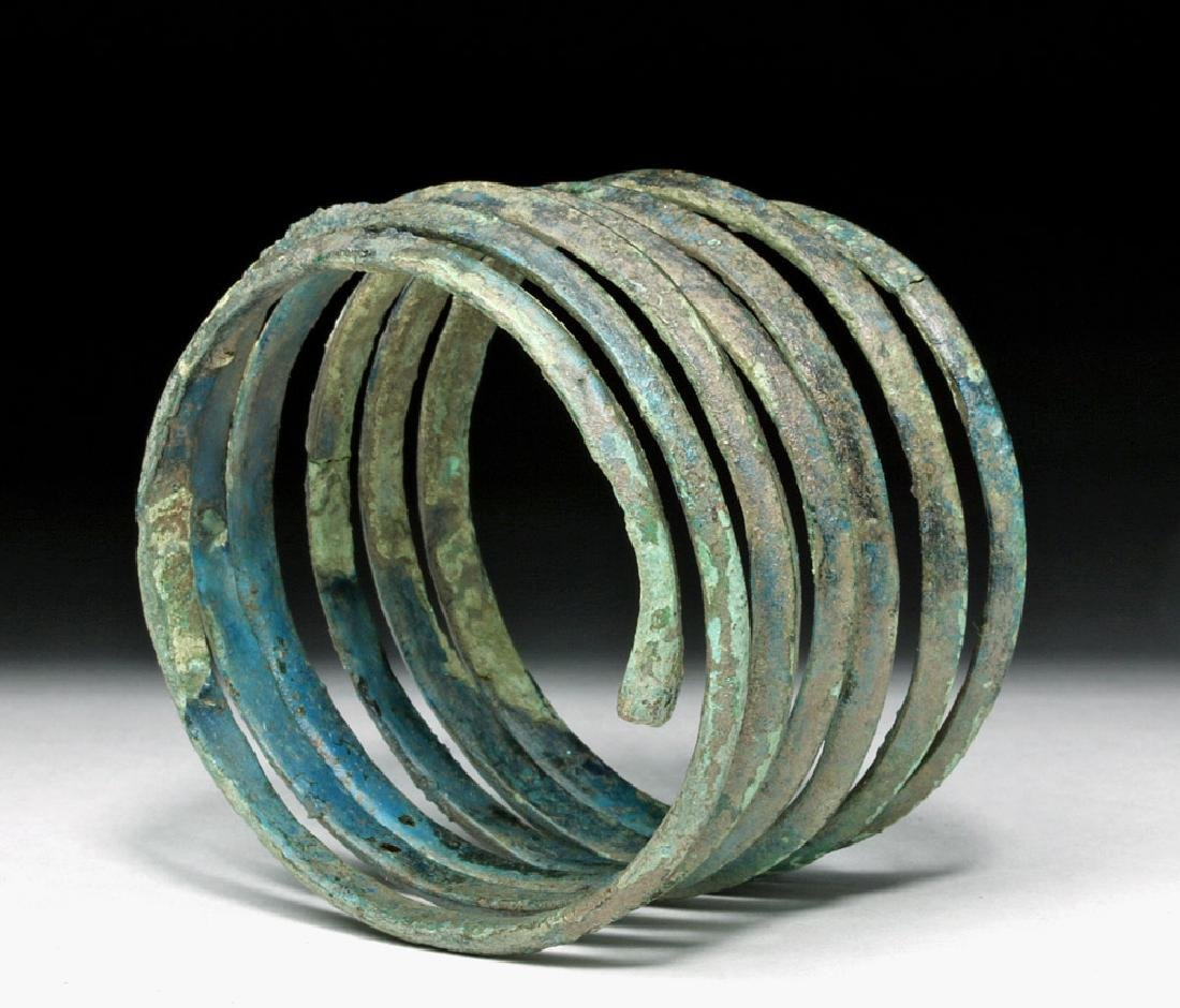 Central Europe Bronze Spiral Bracelet - Blue Patina - 5