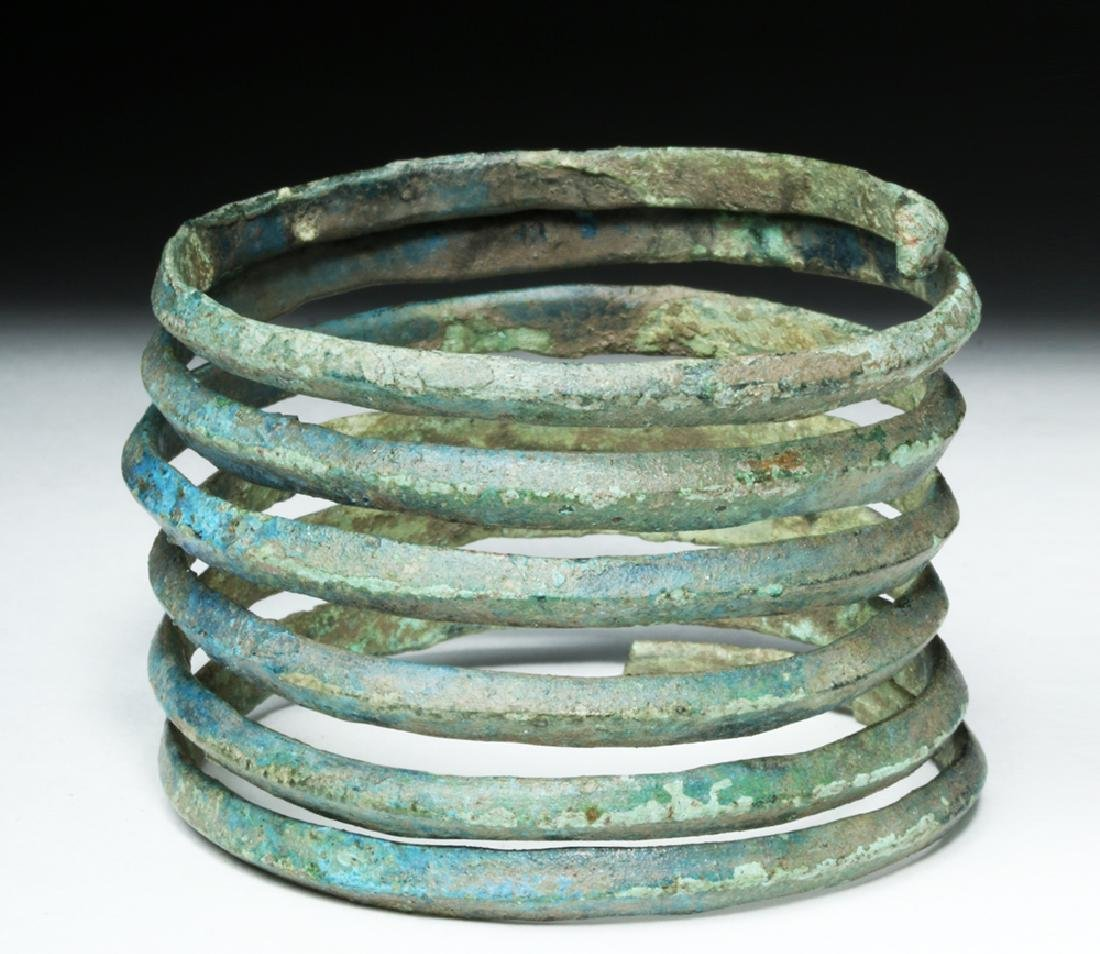 Central Europe Bronze Spiral Bracelet - Blue Patina - 6