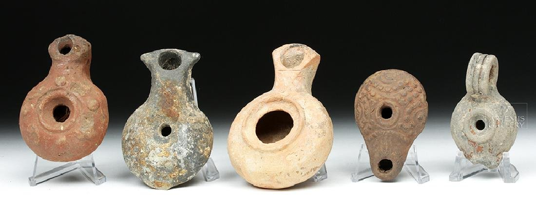 Lot of 5 Fine Ancient Holy Land Terracotta Oil Lamps