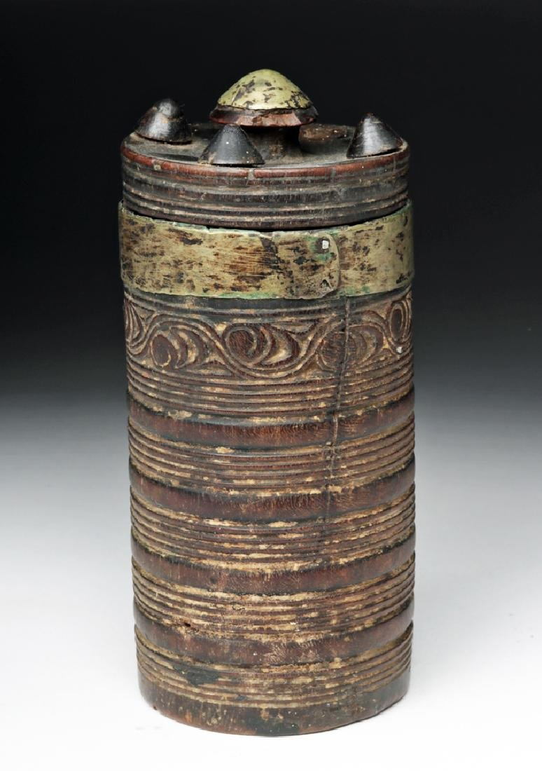 19th C. Tibetan Wooden Tea Cup w/ Lid