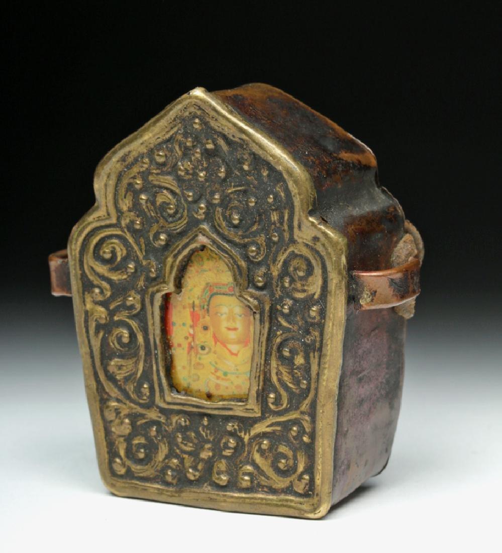 Near-Miniature 20th C. Tibetan Gau / Prayer Box
