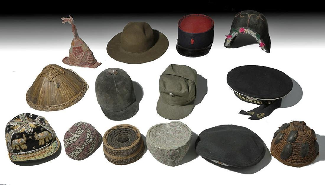 Fourteen 20th C. Assorted Ethnographic Hats