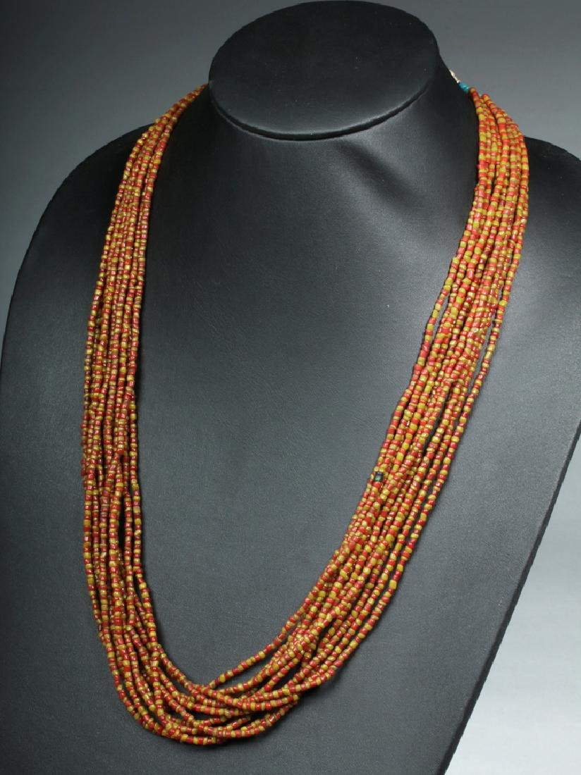19th C. Indian Naga Multi-Strand Glass Bead Necklace