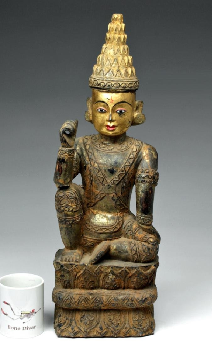 19th C. Burmese Ava Gilded Wood Nat / Spirit Protector