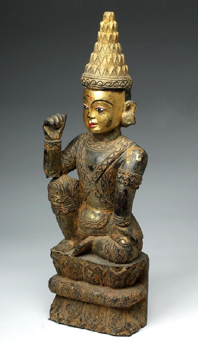 19th C. Burmese Ava Gilded Wood Nat / Spirit Protector - 2
