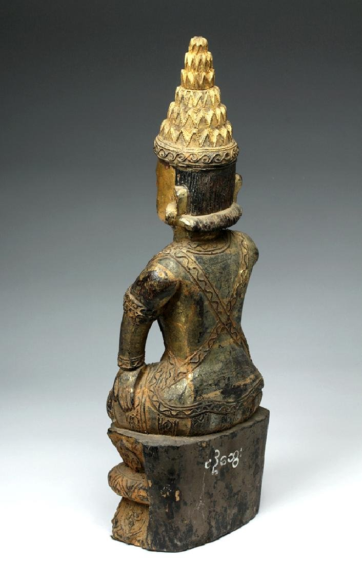 19th C. Burmese Ava Gilded Wood Nat / Spirit Protector - 3