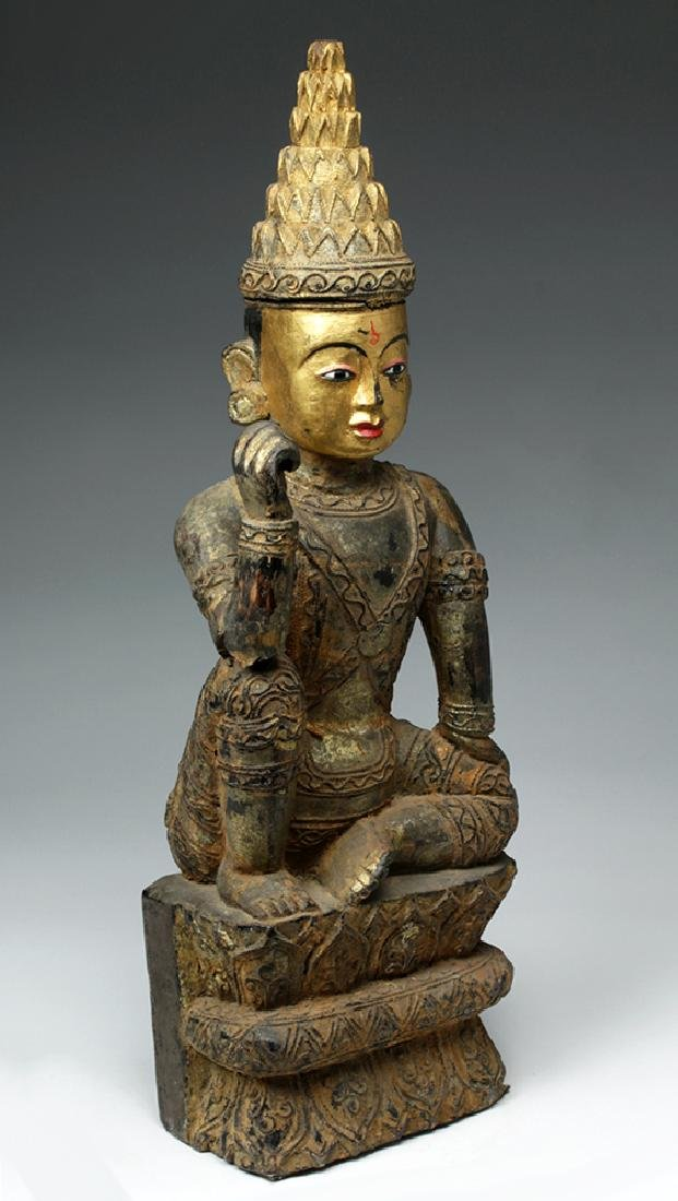 19th C. Burmese Ava Gilded Wood Nat / Spirit Protector - 5