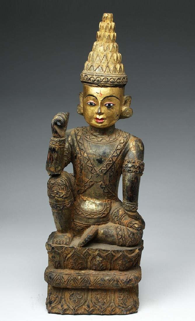 19th C. Burmese Ava Gilded Wood Nat / Spirit Protector - 6