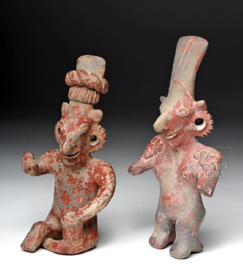 "Pair Large Jalisco ""Sheepface"" Pottery Female Figures"