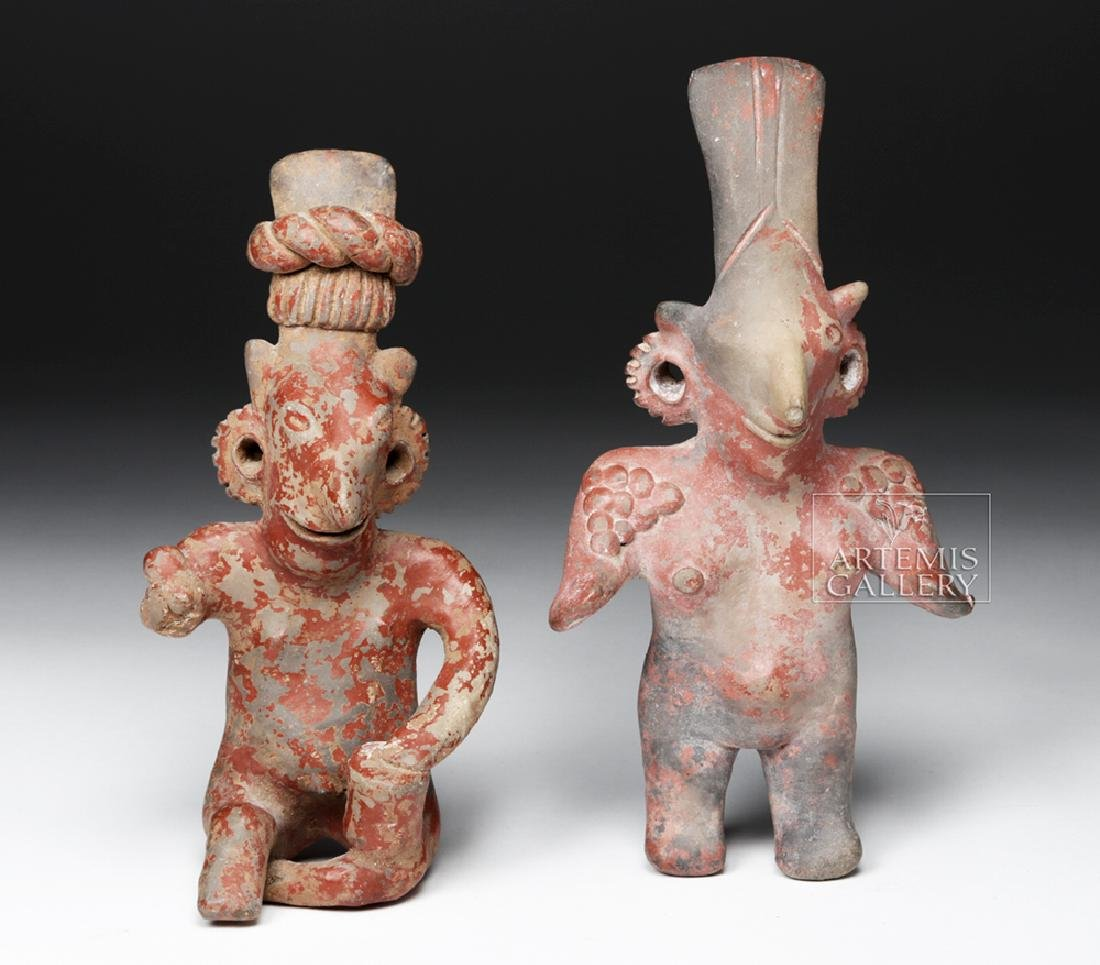 "Pair Large Jalisco ""Sheepface"" Pottery Female Figures - 2"
