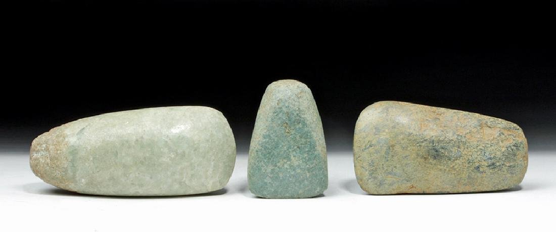 Lot of 3 Mayan Ceremonial Green Stone Celts