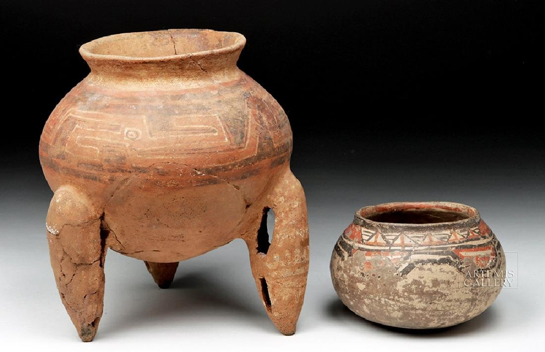 Pair of Costa Rican Terracotta Tripod Vessel & Jar