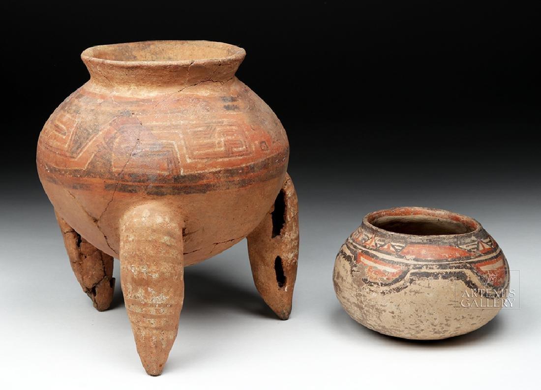 Pair of Costa Rican Terracotta Tripod Vessel & Jar - 2