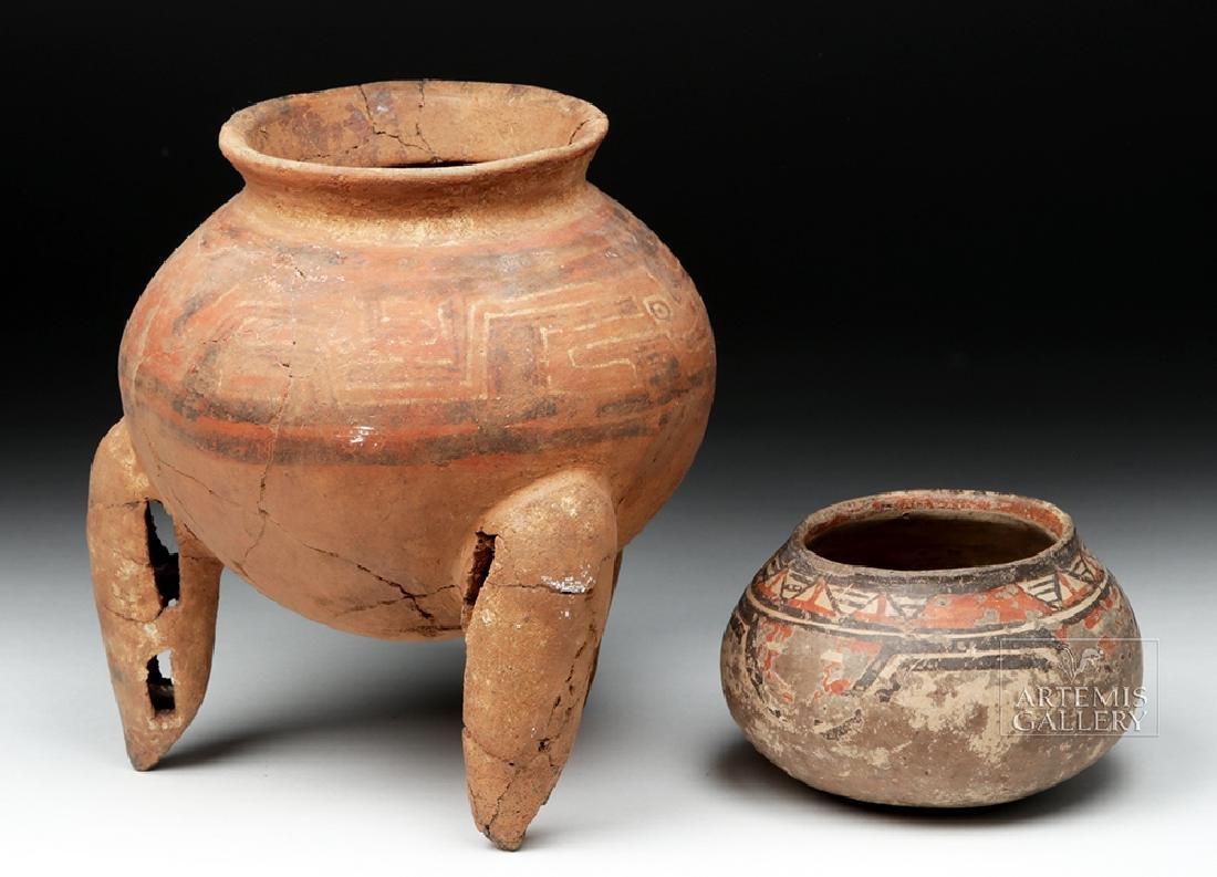 Pair of Costa Rican Terracotta Tripod Vessel & Jar - 3