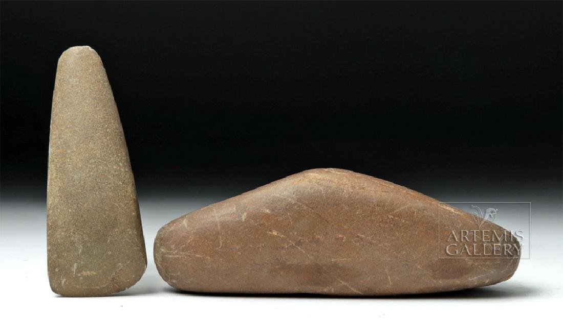 Two Native American Stone Tools - Celt & Weight